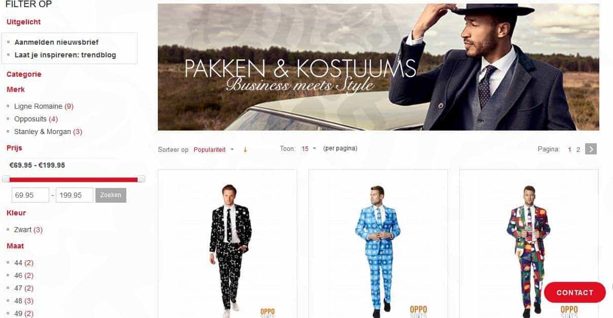 Heren mode achteraf betalen bij Piet Zoomers