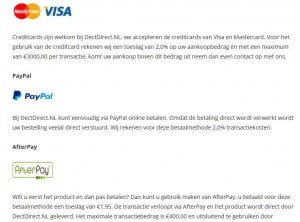 DectDirect.nl achteraf betalen met afterpay