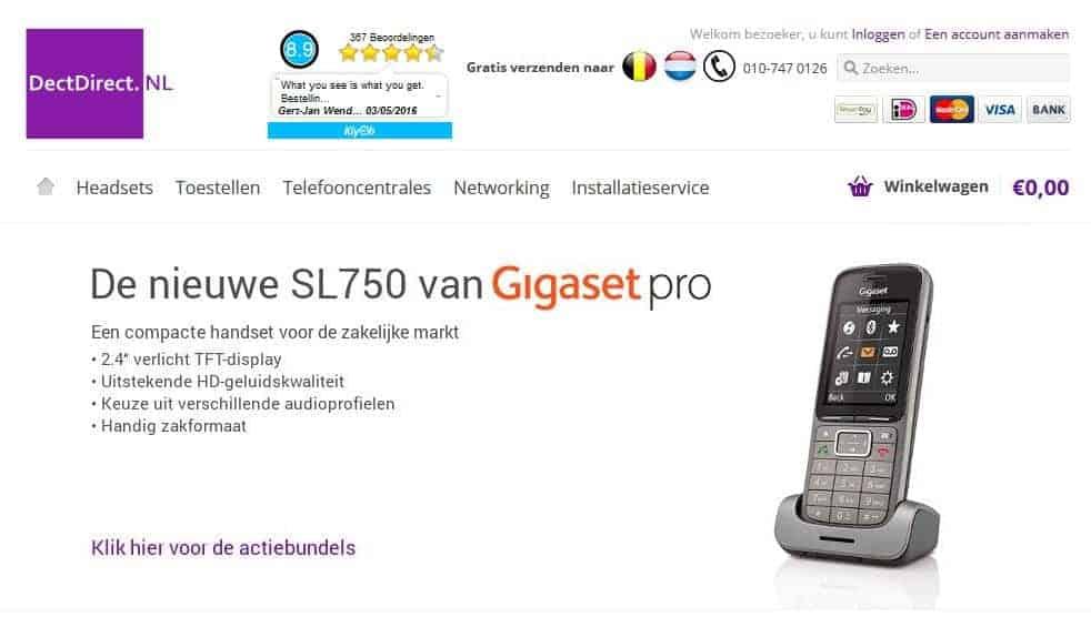 Dectdirect.nl homepage