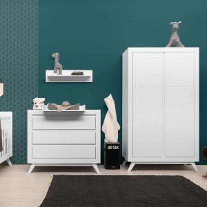 Bopita Anne Babykamer Wit | Bed 60 x 120 cm + Commode + Kast 2-Deurs